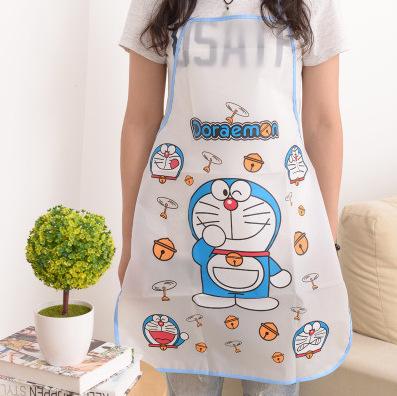 ผ้ากันเปื้อนกันน้ำ โดราเอมอน Doraemon ขนาด 70cm * 49.8cm ลายโดราเอมอน ฟ้า วัสดุเป็น PE กันน้ำ