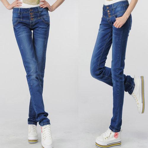 ++สินค้าพร้อมส่งค่ะ++ กางเกงแฟชั่นขายาวเกาหลี ผ้ายีนส์เนื้อดี กางเกงทรง pencil กระดุมกางเกง – สี Blue Jean