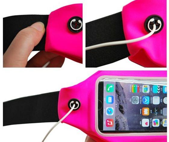 กระเป๋าแบบคาดเอวแนวสปอร์ต สำหรับไอโฟน และแอนดรอยด์ หน้าจอไม่เกิน 5.5 สีชมพุู