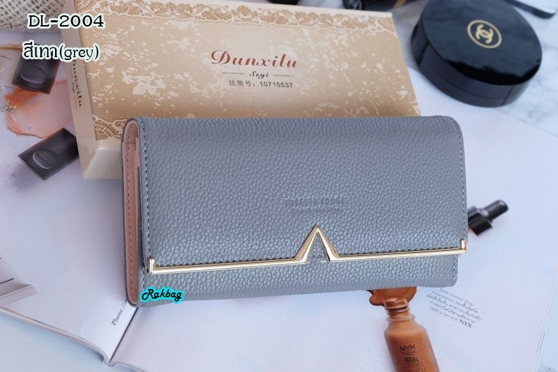พร้อมส่ง DL-2004 สีเทา กระเป๋าสตางค์ยาวพร้อมกล่องหนังPVแต่งอะไหล่ของVสีทอง