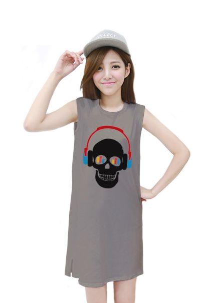 เสื้อยืดแฟชั่นตัวยาว / แซกสั้น แขนกุด ผ้านุ่ม ลาย Skull I (สีเทา)