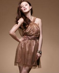 DRESS ชุดราตรี เดรสใส่ออกงาน แขนกุด คอวี คล้องคอ ผ้าซาติน + ตาข่าย สีน้ำตาล - ม่วง เซ็กซี่มากๆ thaishoponline