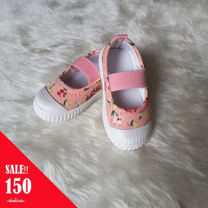รองเท้าผ้าใบแบบสวมมีสายรัดหน้าเท้าลายดอก สีชมพู