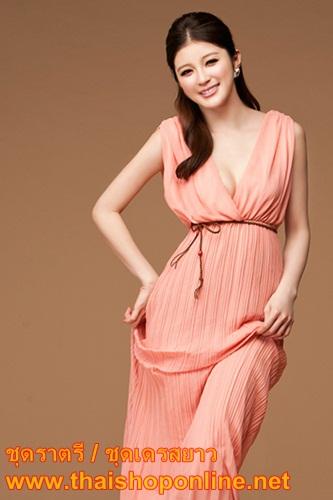 เสื้อผ้าแฟชั่นเกาหลี – ชุดราตรียาว/ชุดเดรสยาว แขนกุด กระโปรงอัดพลีท สีโอรส สวยมาก ใส่ออกงานได้ thaishoponline (พร้อมส่ง)