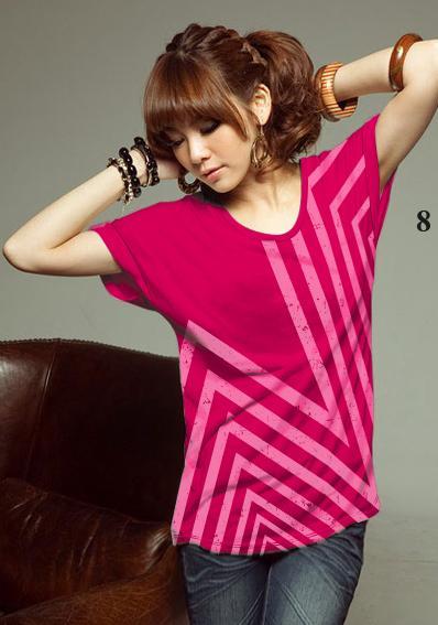 เสื้อยืดแฟชั่น แขนเบิ้ล ลายดาวกราฟิก สีชมพูบานเย็น