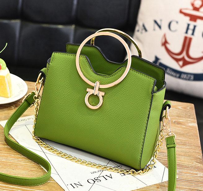 พร้อมส่ง ขายส่ง กระเป๋าผู้หญิงถือห่วงกลม ขนาดเล็ก แฟชั่นสไตล์เกาหลี รหัส KO-274 สีเขียว 1 ใบ