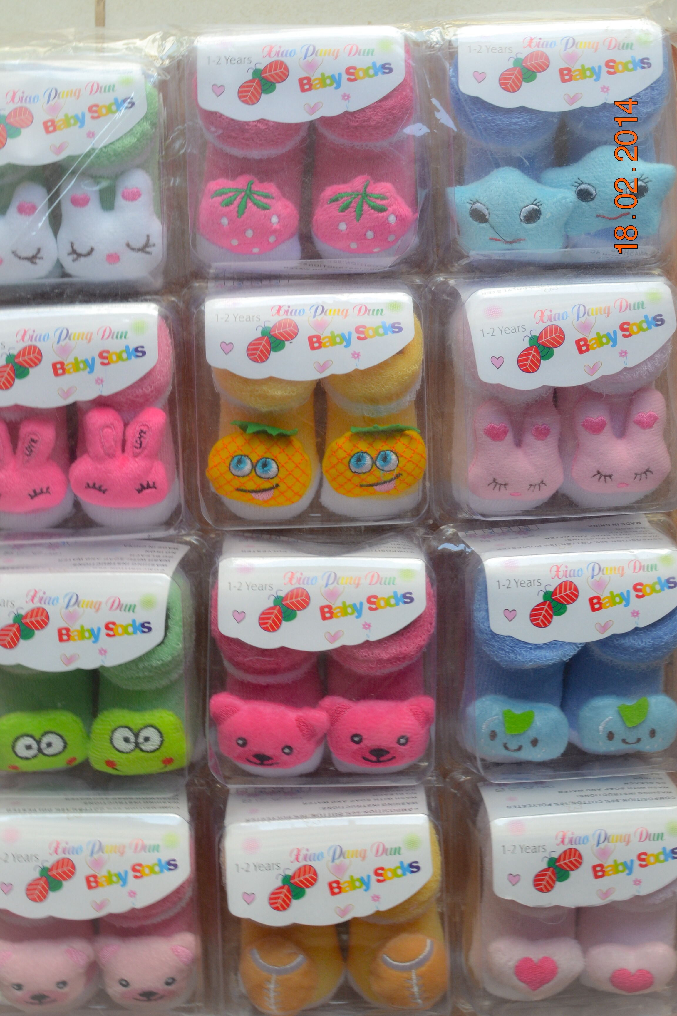 U011-2**พร้อมส่ง** (ปลีก+ส่ง) ถุงเท้าเด็ก(1- 2ปี) พับข้อ ติดหัวสัตว์ ไม่มีกันลื่น เนื้อดี งานนำเข้า ( Made in China)