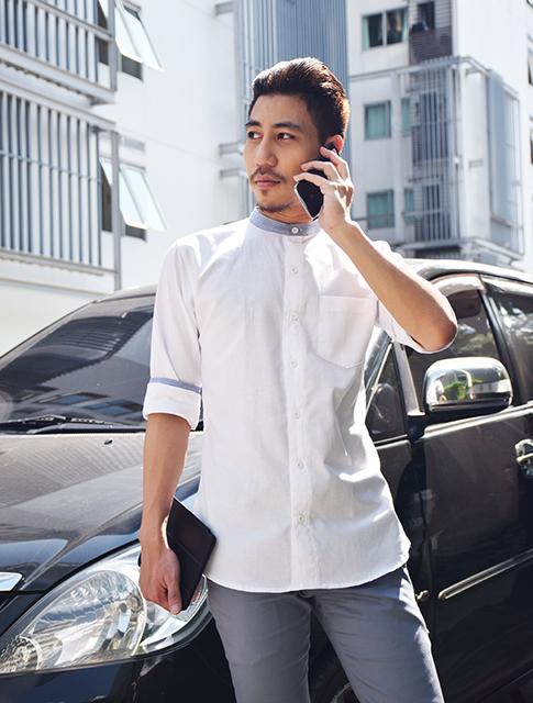เสื้อเชิ้ตสีขาวคอเทา รุ่นคอจีน