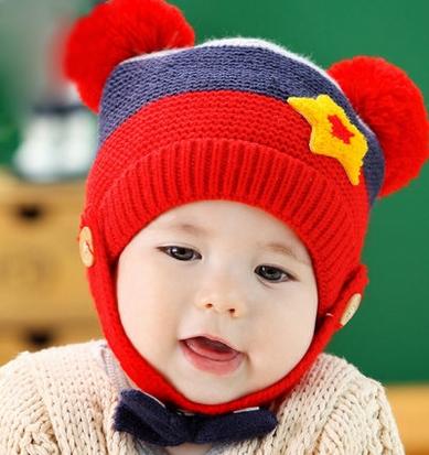 หมวกอุ่นกกันหนาว สำหรับเด็ก 3-24เดือน รูปดาว มีที่คมคางหลายสี