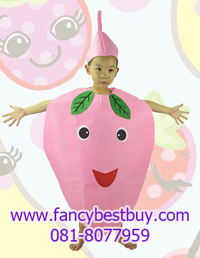 ชุดพีชสำหรับใส่เป็นชุดแฟนซีผลไม้สำหรับเด็ก Peach Costume ขนาดฟรีไซด์ ชุดยาว 77 ซม.