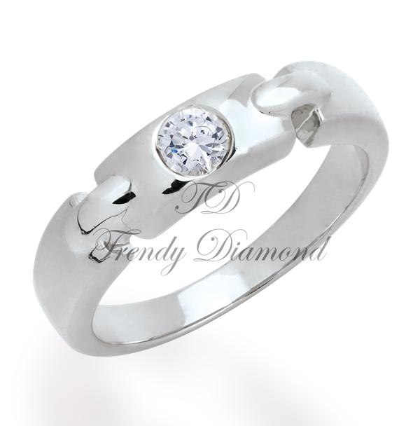 แหวนเลทหน้าเพชร สีทองคำขาว