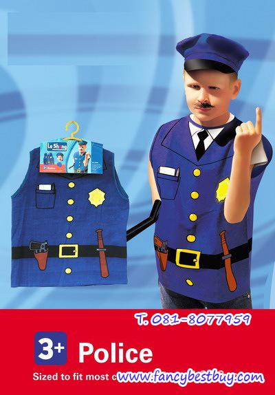 ชุดตำรวจ แบบผ้าพิมพ์ลาย ใช้ได้ทั้งเด็กชายและเด็กหญิง (เสื้อ+หมวก ) ขนาดฟรีไซด์ สำหรับเด็ก 90-125 ซม. อายุ 3-7 ขวบ