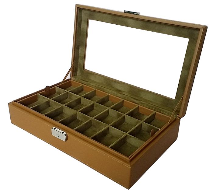 กล่องใส่พระ 2 ชั้น จำนวน 42 ช่อง งานหนัง (พร้อมส่ง) สีน้ำตาล