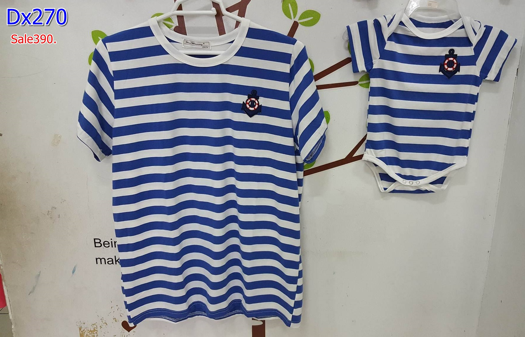 #ชุดset แม่ลูก เสื้อคลุมท้อง ผ้ายืดสีน้ำเงินลายขาว คอกลมแขนสั้น + ชุดเด็กน้อย 2-5 เดือน ผ้าเนื้อนิ่มใส่สบาย ใส่คู่กัน น่ารักใส่สบายจร้า