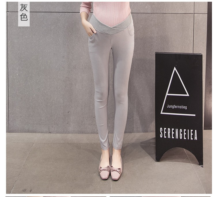 กางเกงขายาวคนท้องสีเทา เอวต่ำหลบท้อง ผ้ายืดได้ค่ะ ผ้านิ่มใส่สบายค่ะ(เอวปรับไม่ได้ค่ะ)