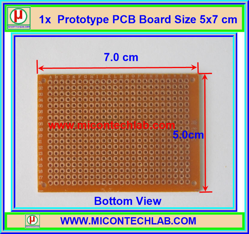 1x Prototype PCB Board Size 5x7 cm For Prototype Circuits