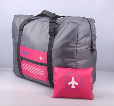 (สีชมพู) กระเป๋าเดินทางพับเก็บได้ สามารถพ่วงกับกระเป๋าเดินทางรถเข็นได้ ขนาด 45 x 20 x 34 CM ความจุ 20 ลิตร