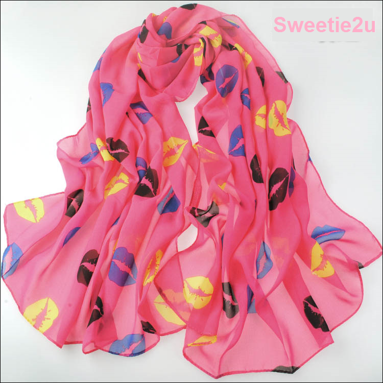 ผ้าพันคอผ้าชีฟอง ลายริมฝีปากสีชมพู ( รหัส P241 )