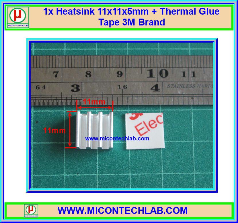 1x Mini Heatsink 11x11x5mm + Thermal Glue Tape 3M Brand (แผ่นระบายความร้อน+แผ่นกาว 3M)