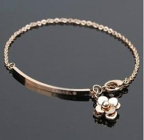 สร้อยข้อมือทองไทเทเนียม Camellia เกาหลี Vintage