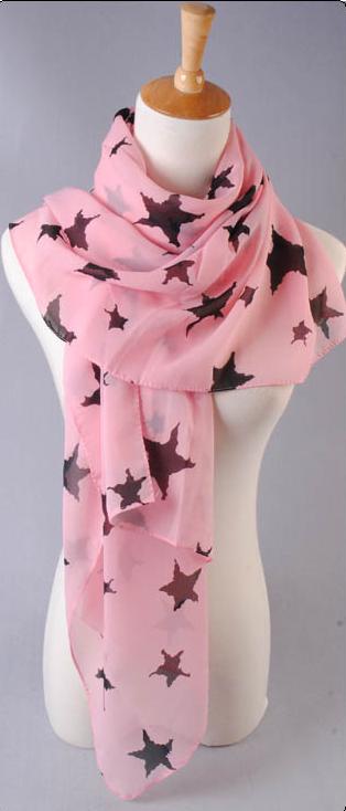ผ้าพันคอผ้าชีฟองสีชมพู ลายดาวสีดำ ( รหัส P285 )