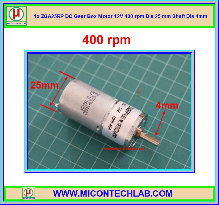 1x ZGA25RP DC Gear Box Motor 12V 400 rpm Dia 25 mm Shaft Dia 4mm