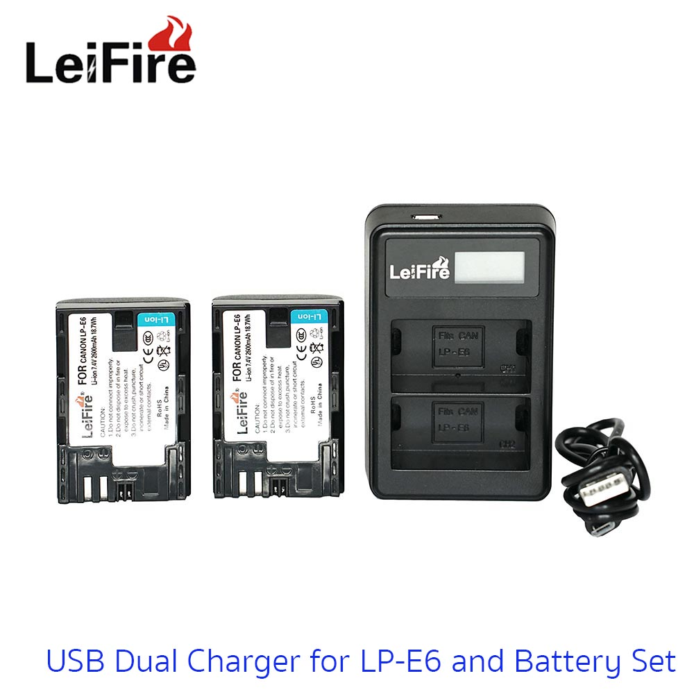 Battery Set LeiFire Dual USB For Canon LP-E6 with 2*Battery set