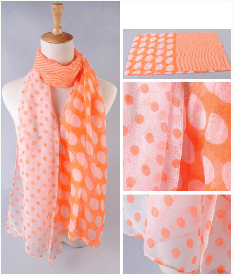 ผ้าพันคอผ้าฝ้าย ลายจุดหลากไซส์สีส้ม ( รหัส P197 )