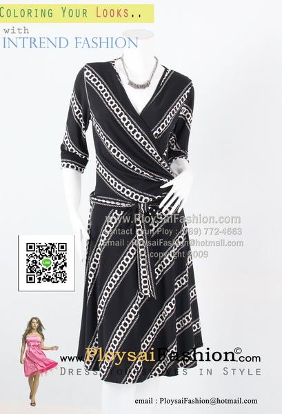 bw283 - ชุดทำงานขาวดำ ผ้าเกาหลีสีดำพิมพ์ลายโซ่ แขนสามส่วน ตัวเสื้อดีไซน์ป้าย พร้อมผ้าผูกเอวแยกชิ้น สวยเรียบร้อยค่ะ