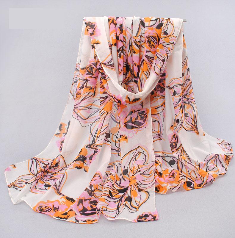 ผ้าพันคอชีฟอง ลายดอกกุหลาบโทนชมพูส้ม