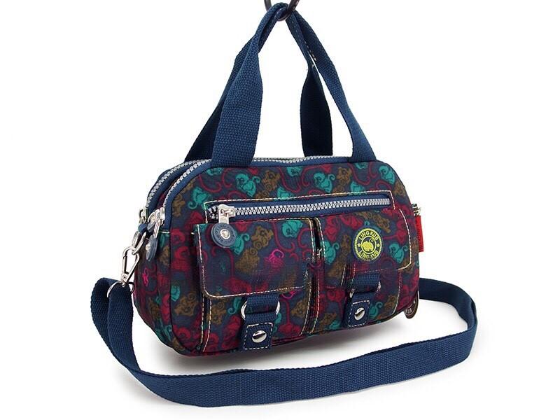 กระเป๋าเนื้อ kipling + สะพาย ใบเล็ก สีกรม ลายลิงเล็ก