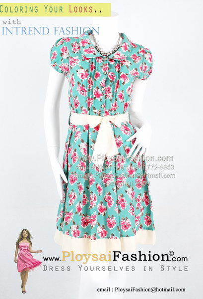 pd2589 - ชุดทำงานสำหรับสาวตัวเล็ก ผ้าไหมอิตาลีสีเขียวพิมพ์ลายดอก คอบัวกระดุมหน้า ผูกแต่งโบว์ช่วงเอว ช่วงกระโปรงจับจีบ ซับในช่วงกระโปรง สวยๆน่ารักๆค่ะ