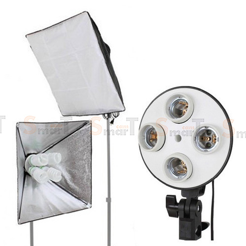 Continuous Lighting E27 Bulb x4 Holder With Softbox 50x70cm