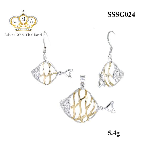 ต่างหูเพชรพร้อมจี้เพชร ( ชุบทอง ) = Earring with Pendant ( Gold )