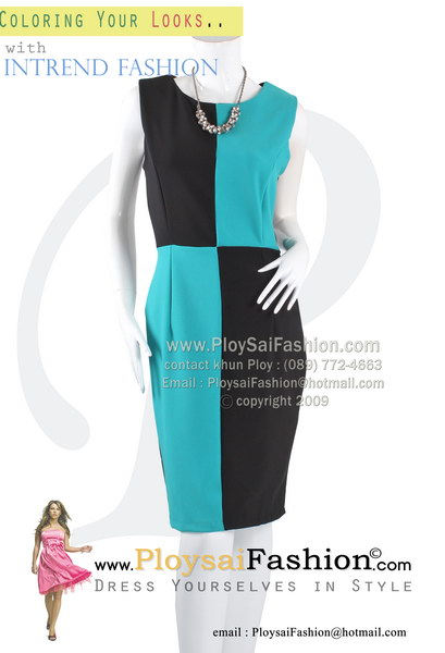hd1817 - ชุดเดรสแขนกุด ผ้าเกรด AAAA ด้านหน้าดีไซน์ผ้าสลับสีฟ้า-ดำ (ด้านหลังดำพื้น)ซับในช่วงกระโปรง งานสวยมากๆเลยค่ะ