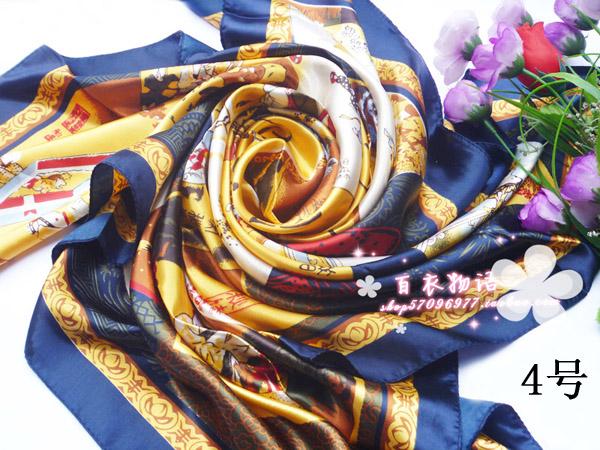 ผ้าพันคอผ้าซาติน ลายวัฒนธรรมจีน