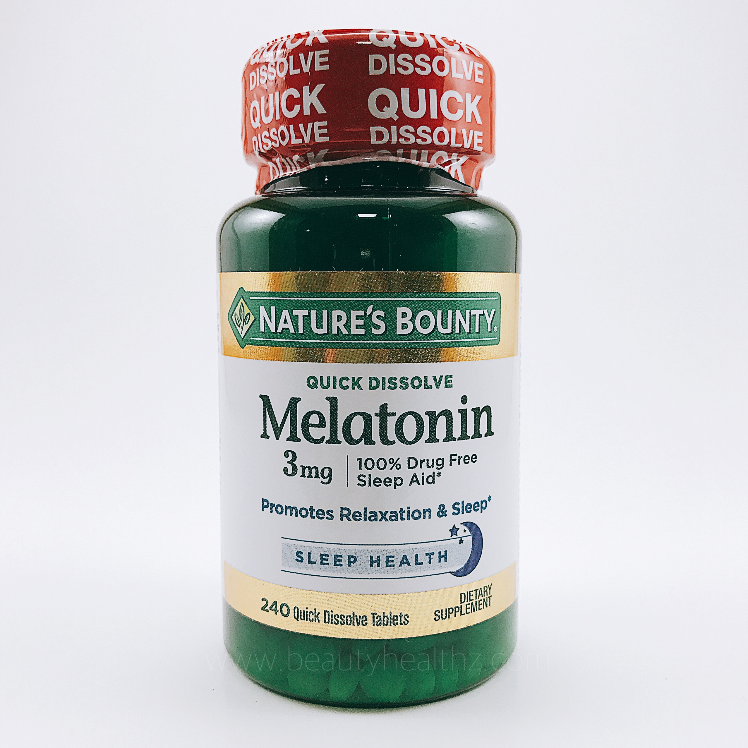 Nature's Bounty, Triple Strength Melatonin, Cherry Flavored, 3 mg, 240 Quick Dissolve Tablets