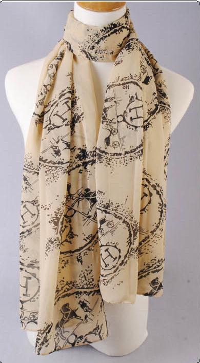 ผ้าพันคอผ้าชีฟอง ตัวอักษร H สีเบจ
