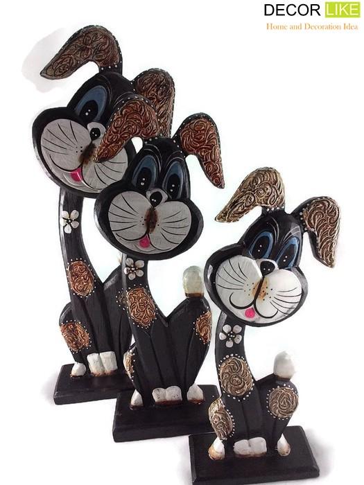 ตุ๊กตาไม้แกะสลัก กระต่ายแสนกล แบล็คกี้ (เซ็ท 3 ตัว)