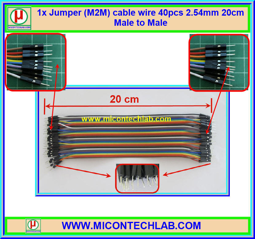1x Jumper (M2M) cable wire 40pcs 2.54mm 20cm Male to Male