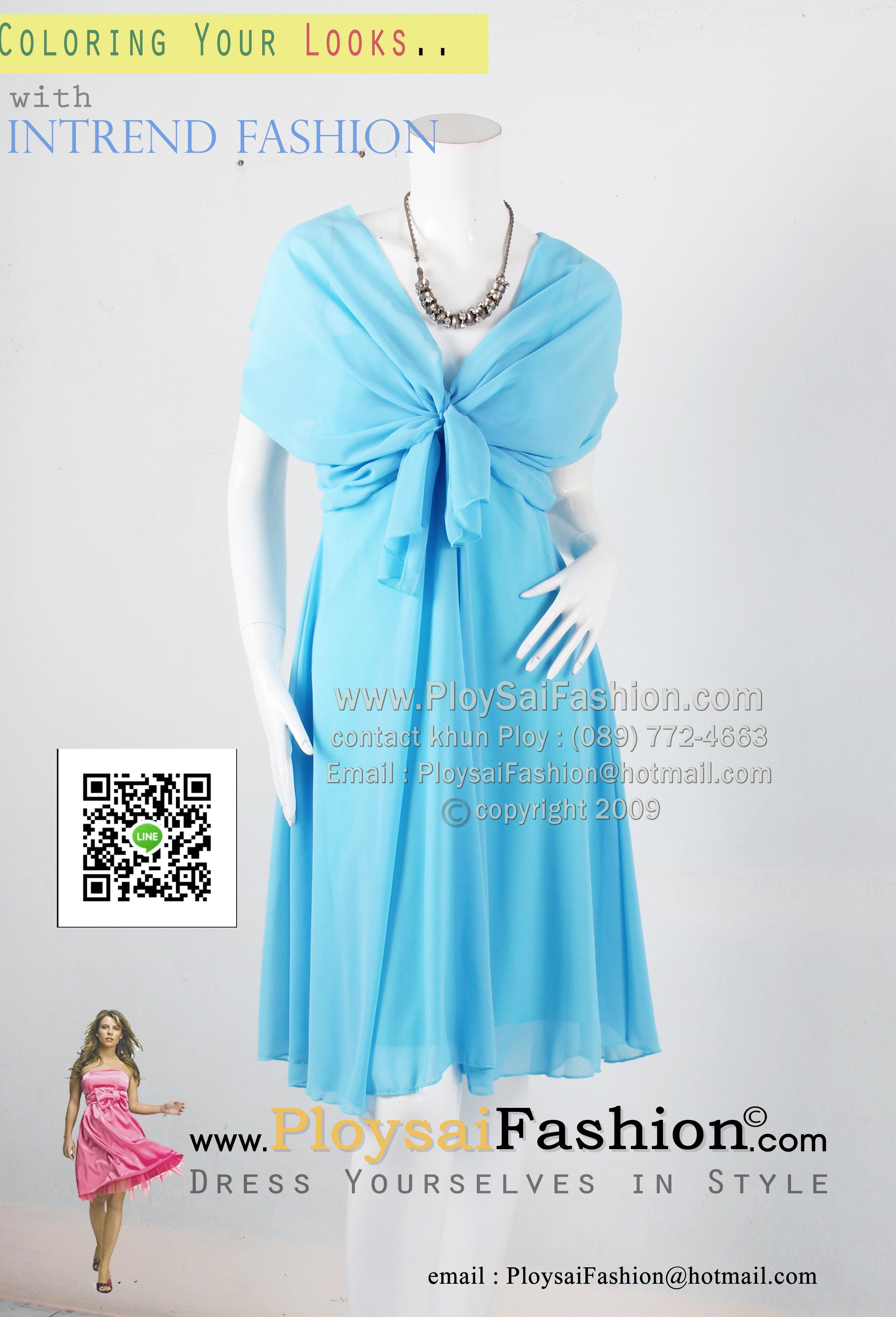 an022 - ชุดไปงานแต่ง (สาวอวบใส่ได้)ผ้าซีฟองสีฟ้า ช่วงอกดีไซน์คลุมไหล่ สวยเรียบร้อยสุดๆค่ะ