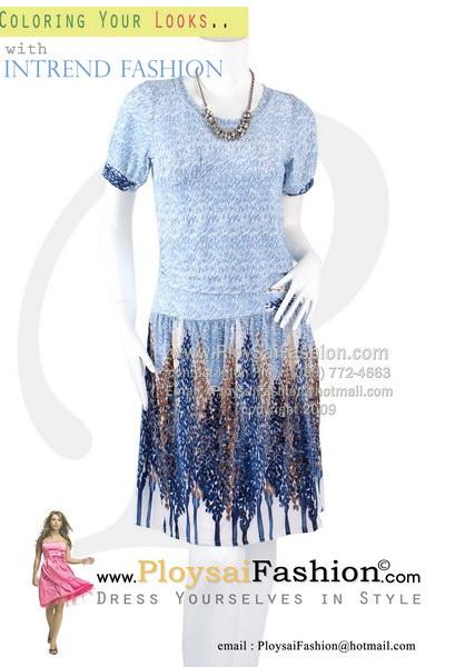 pd2755 - เดรส ผ้าเกาหลี พิมพ์ลายโทนฟ้า แขนตุ๊กตา ซับในช่วงกระโปรง สวยๆหวานๆค่ะ