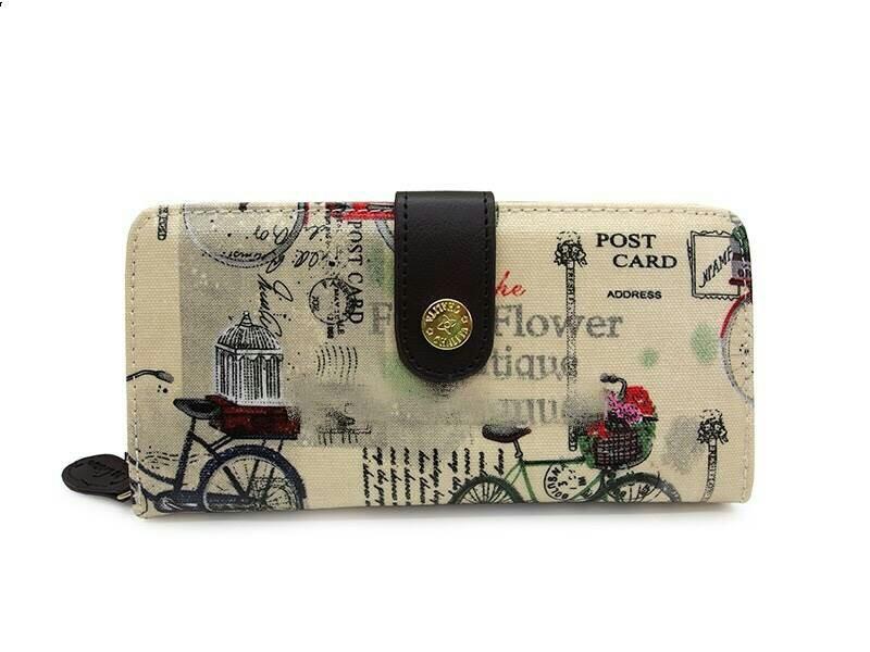 กระเป๋าสตางค์ Chalita wu สีครีม ลายจักรยาน