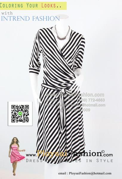 bw282 - ชุดทำงานขาวดำ ผ้าเกาหลีสีดำพิมพ์ลายทางขาวดำ แขนสามส่วน ตัวเสื้อดีไซน์ป้าย พร้อมผ้าผูกเอวแยกชิ้น สวยเรียบร้อยค่ะ