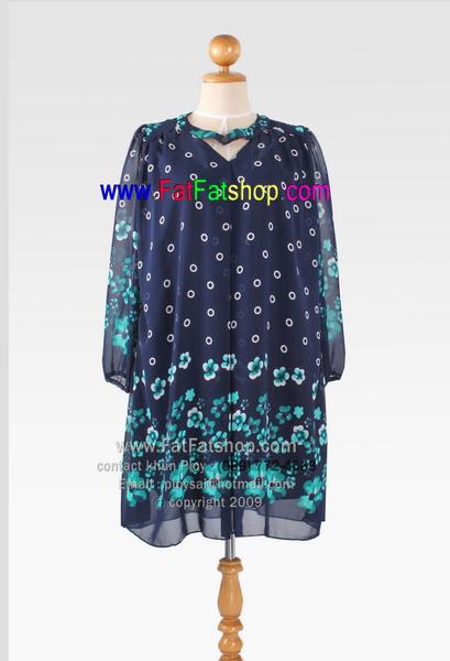f001-51-55- เสื้อผ้าคนอ้วน ผ้าซีฟองสีกรม พิมพ์ลายดอก แขนสามส่วน ซับในทั้งตัว อก 46-54 นิ้ว
