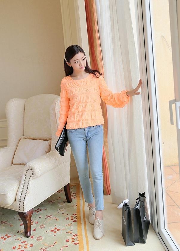 เสื้อ ผ้าตาข่าย แต่งยางยืดที่แขนและเสื้อ สีดำ สีส้ม