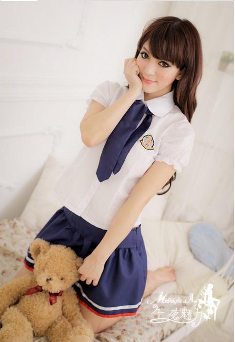 ชุดนักเรียนแฟนซี ชุดนักเรียนญี่ปุ่น คอปก เนคไทด์น้ำเงิน กระโปรงบานชายแต่งแถบน้ำเงิน-ขาว (พร้อม กกน.เข้าชุด)