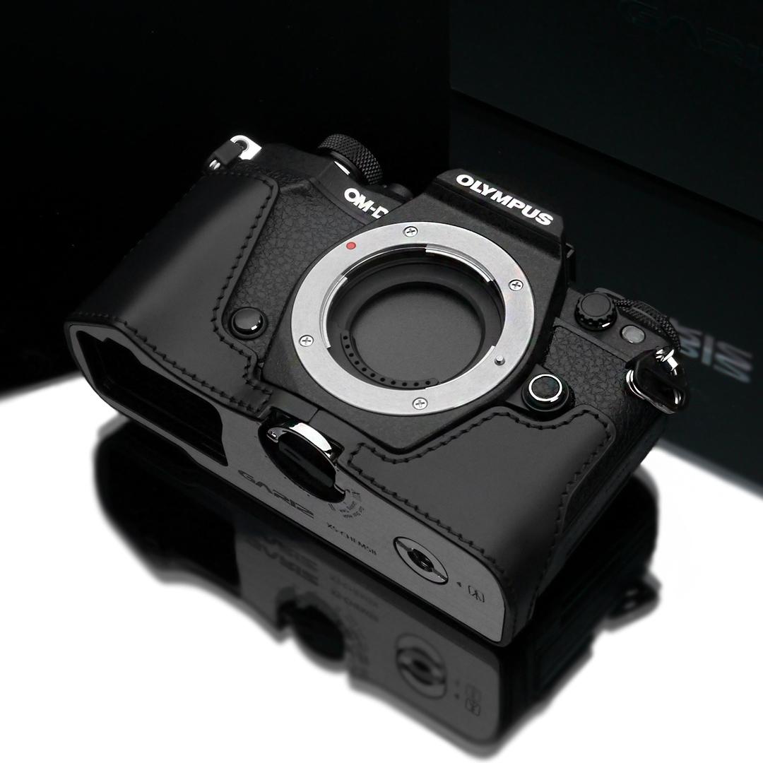 Gariz Leather Half-case for Olympus E-M5 mark II : Black