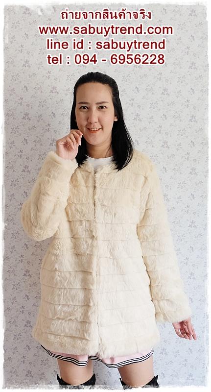 ((ขายแล้วครับ))((คุณatcharaจองครับ))ca-2693 เสื้อคลุมกันหนาวขนเฟอร์สีครีม รอบอก39