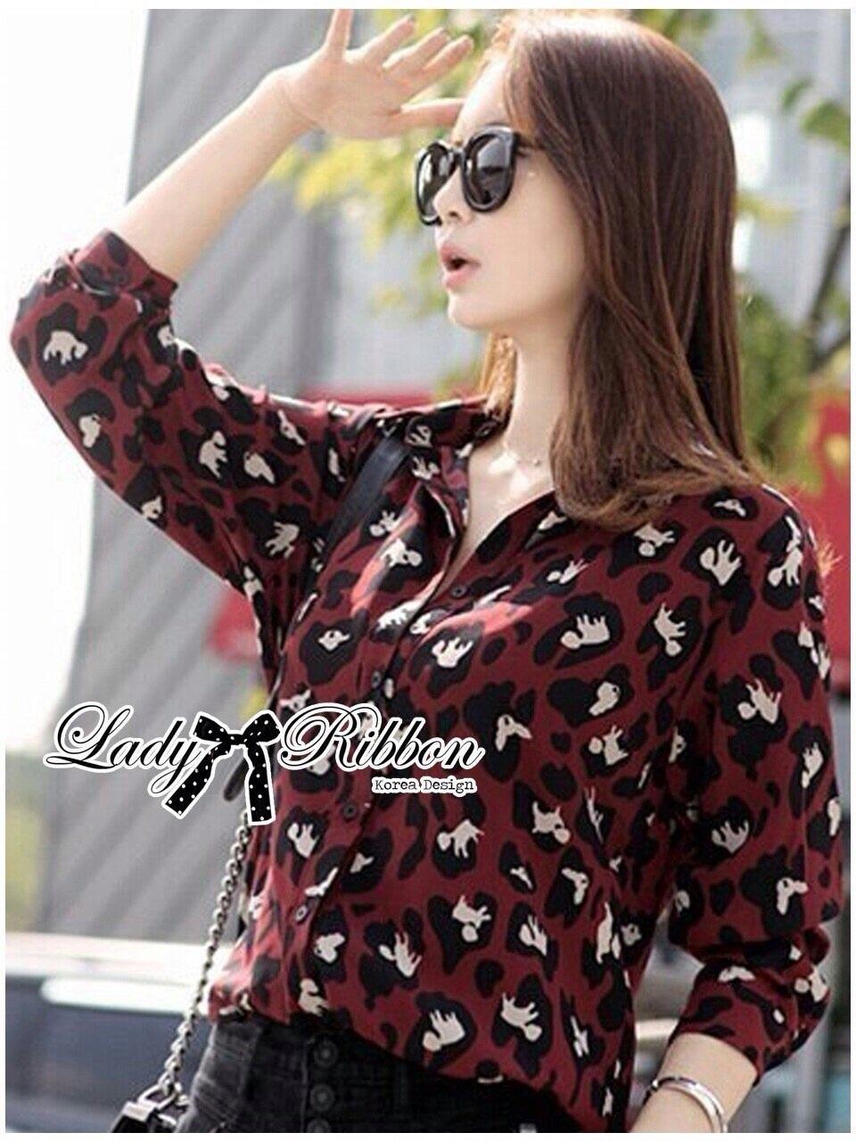 Lady Ribbon Leopard Print Shirt เชิ้ตพิมพ์ลายเสือ